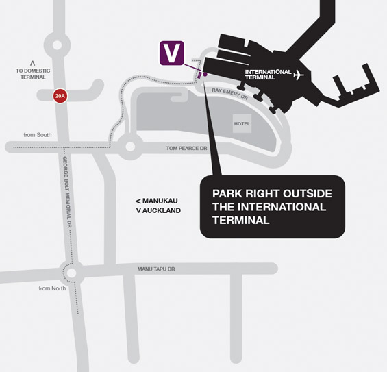 Skyway Auckland Airport Valet Parking - International Map